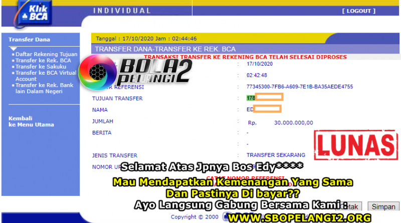 Pemenang Single Bet Sportbook 17 Oktober 2020