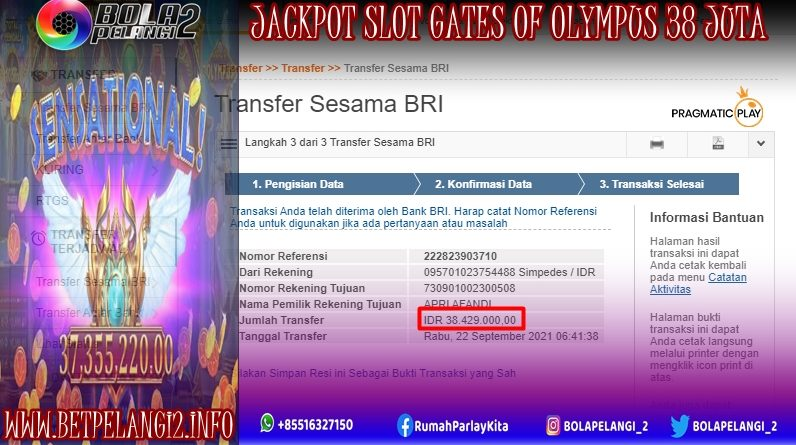 JACKPOT SLOT GATES OF OLYMPUS 38JT 09 SEPTEMBER 2021